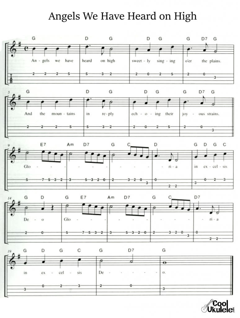 Angels We Have Heard on High Ukulele Chords and Tabs