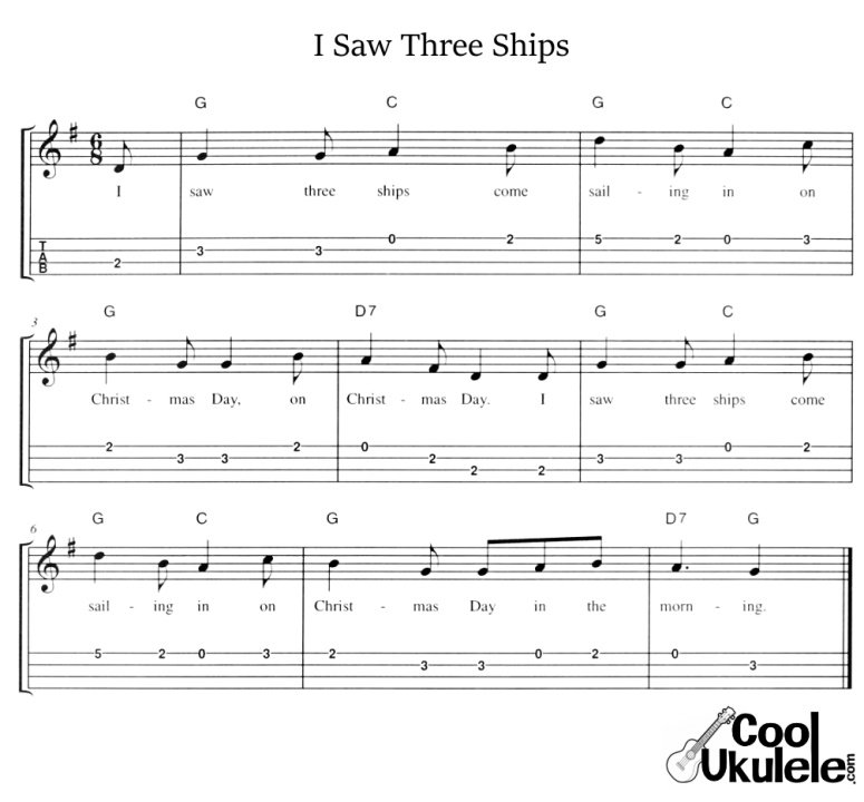 i saw three ships ukulele chords and tabs