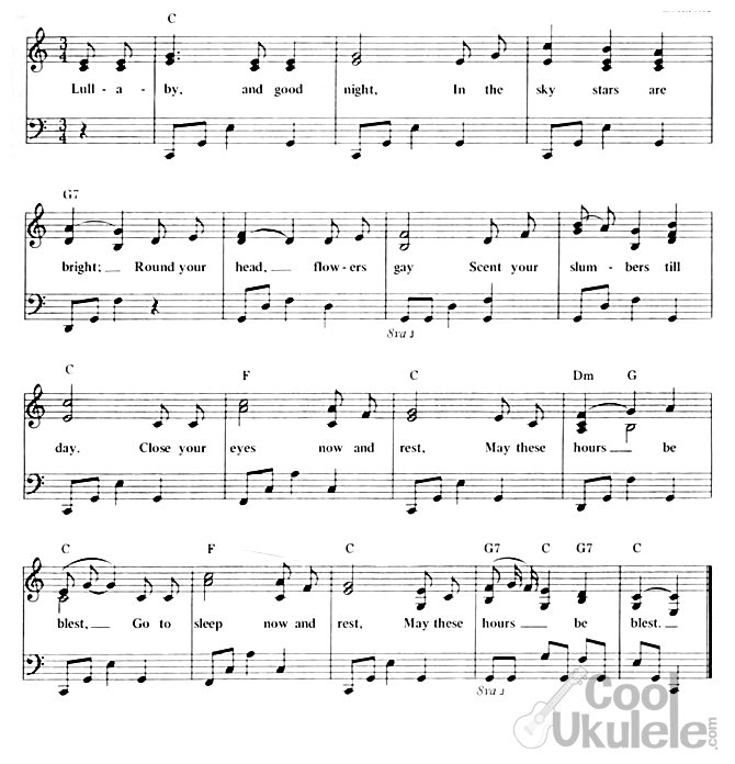 Brahms' lullaby chords and lyrics ukulele