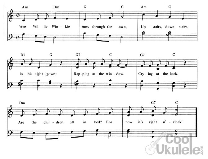 Wee willie winkie, ukulele chords and lyrics